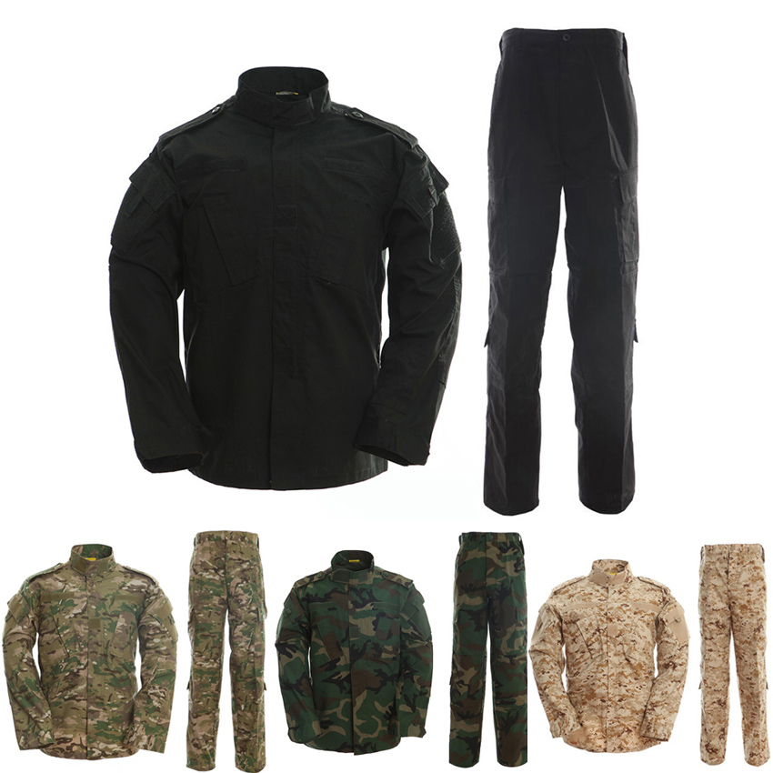 US Army Suit Adult Male Military Uniform Airforce Desert Jungle Outdoor Hunting Costumes ACU Camo Camouflage Combat Jacket