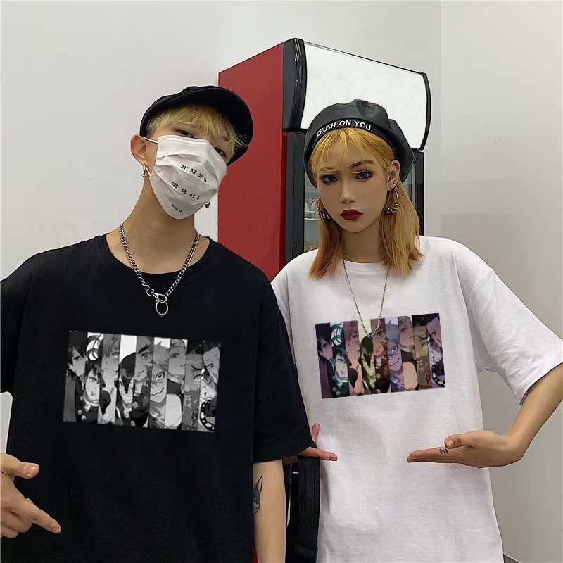 Chic Anime Kimetsu Geen Yaiba Pijlers Cartoon Print T-shirt Mannelijke Hip Hop Oversize Top Harajuku Demon Slayer Unisex T-shirt mannen Tee