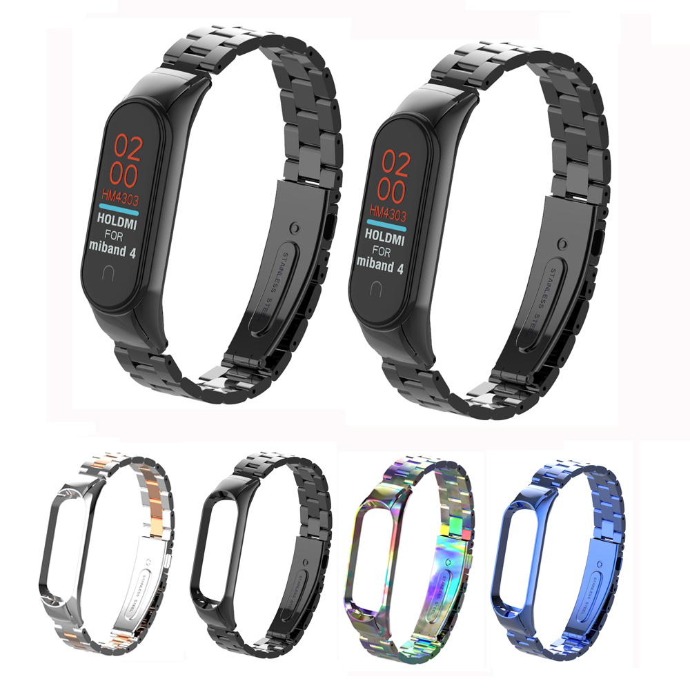 Metal Stainless Steel Wrist Band Bracelet For Xiaomi Mi Band 4 3 Replacement Screwless Strap For Xiaomi Miband 4 Strap Belt
