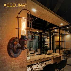 Image 2 - Vintage Industrial Wall Light,Rust Wall Lamp,светильник бра,Loft Wall Sconce Light Fixture 180° Adjustment,lampshade Up And Down