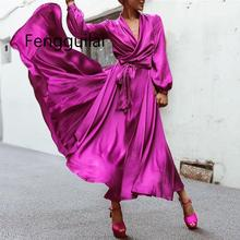 FENGGUILAI Women Lantern Sleeve Plus Size Dress V-Neck Solid Sexy Sashes Party Casual Loose Elegant Vintage Red Dresses