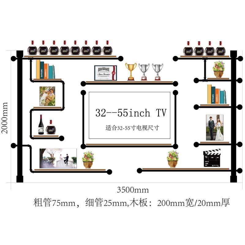 New Design Bookshel Multy-layer Pine Wood And Iron Pipe TV Wall Shelf Wine Rack Antique Design Bookshelf Audio Cabinet CF