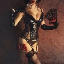 Corsé gótico de talla grande para mujer, corsé Sexy erótico de piel con encaje de espina de pescado, sujetador de realce, corsé con cintura elástica, corpiño Steampunk