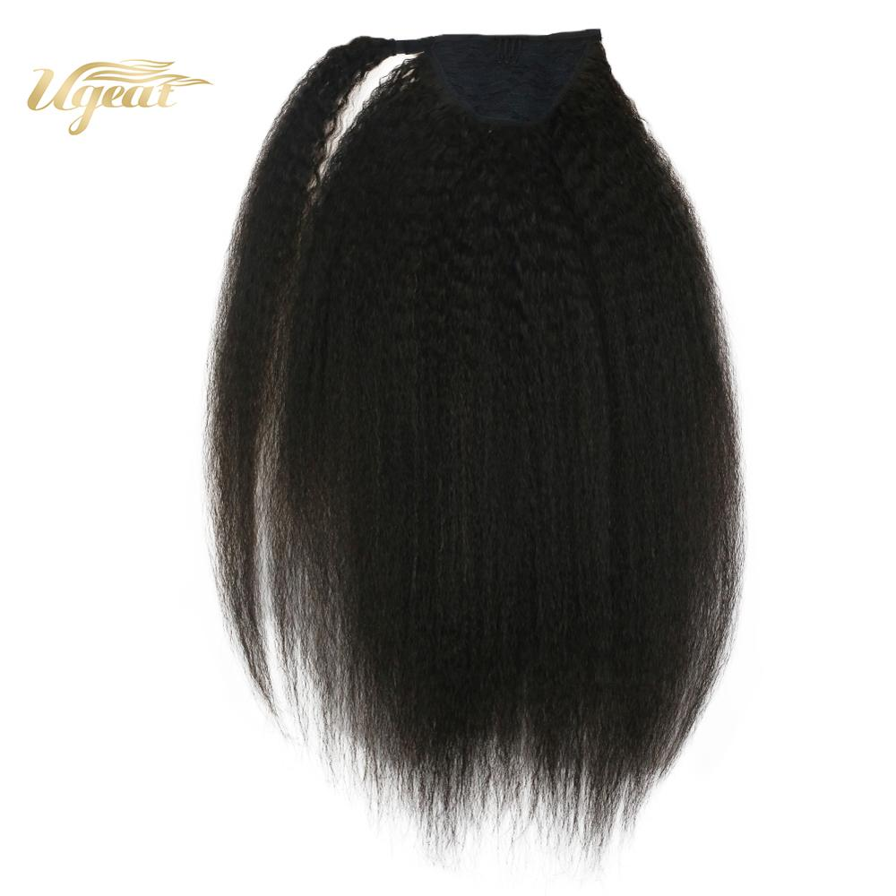 Ugeat Ponytail Hair Extensions Off Black Color Hair #1B Kinky Curly Clip On Bangs 14-24