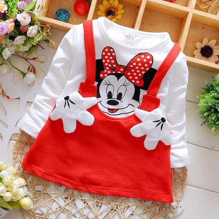 2019 nuevo verano de algodón para niñas Vestido de manga larga de dibujos animados ropa para niños vestidos de princesa para niños ropa Casual 0-2 años