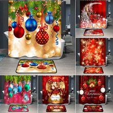 New Year  Shower Curtain Snowflake Bathroom Christmas Decor Santa Claus Home Shower Curtain with Hooks Xmas Bathroom Decor