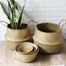 Seagrass Wickerwork Basket Rattan Hanging Plant Planting Flower Pot Storage Laundry Basket Cesta Mimbre Home Garden Decorative