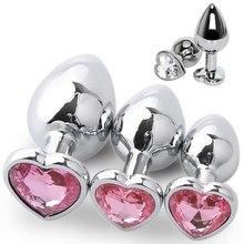 3 tamanho anal plug coração de aço inoxidável cristal anal plug removível butt plug estimulador anal brinquedos do sexo próstata massageador vibrador