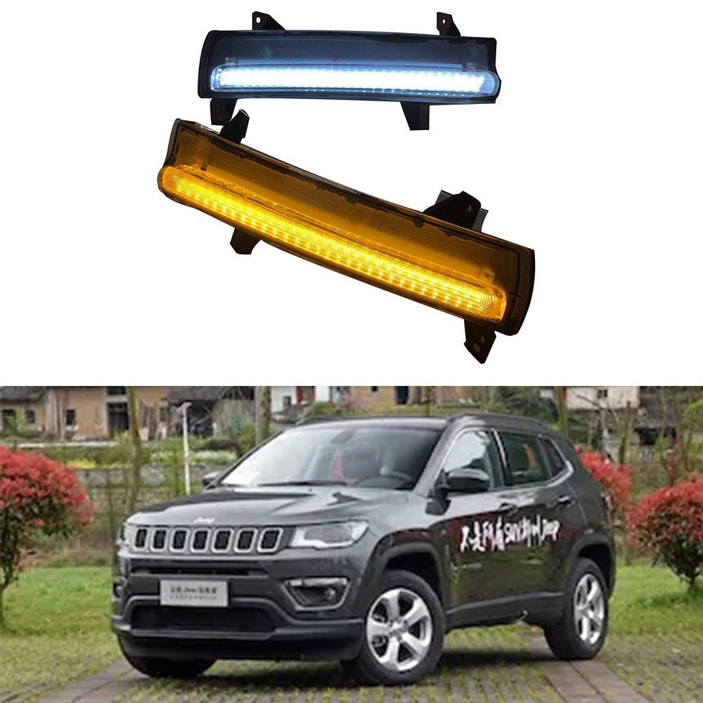 LED DRL For <font><b>Jeep</b></font> <font><b>Compass</b></font> 2017 2018 <font><b>2019</b></font> Headlight Headlights fog lights dynamic yellow turn Signal Light style Relay fog light image