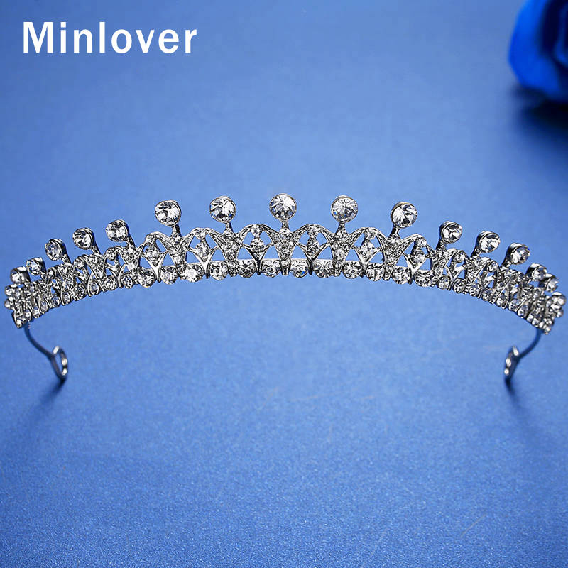 Minlover Gorgeous Silver Color Rhinestone Bridal Tiaras Crowns For Women Headbands Wedding Hair Accessories Hair Ornaments HG168