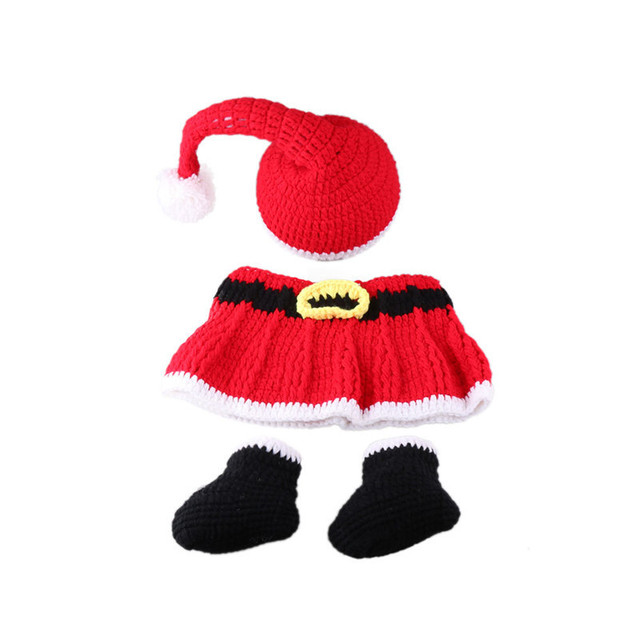 0-4Months Baby Photo Costume Infant Red Wool Christmas Dress Newborn Baby Photography Props Theme Studio Accessories Baby Pic 4
