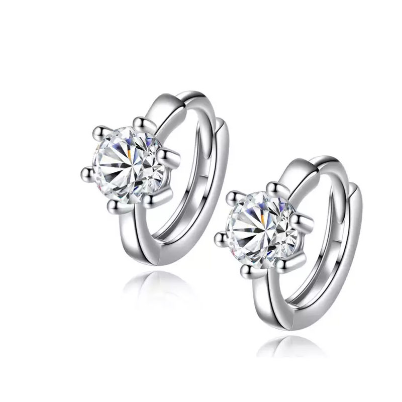 925 Sterling Silver Earrings Six Claw Zircon Heart Arrow Round Stud Earrings For Women Best Gift S-E184