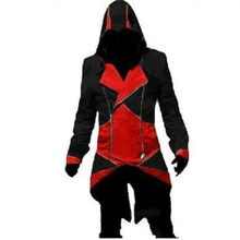 Nieuwe Cool Assassin 'S Creed Middeleeuwse Smoking Halloween Connor Jas Rood Zwart Cosplay Spel Cos Kostuum(China)