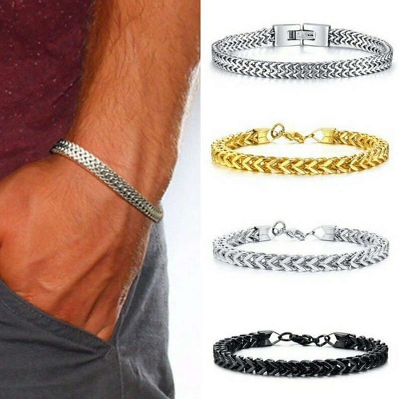 Men's Bracelet Good Quality Stainless Steel Mens Bracelet Men Male Snake Chain On Hand Man's Chain Bracelets