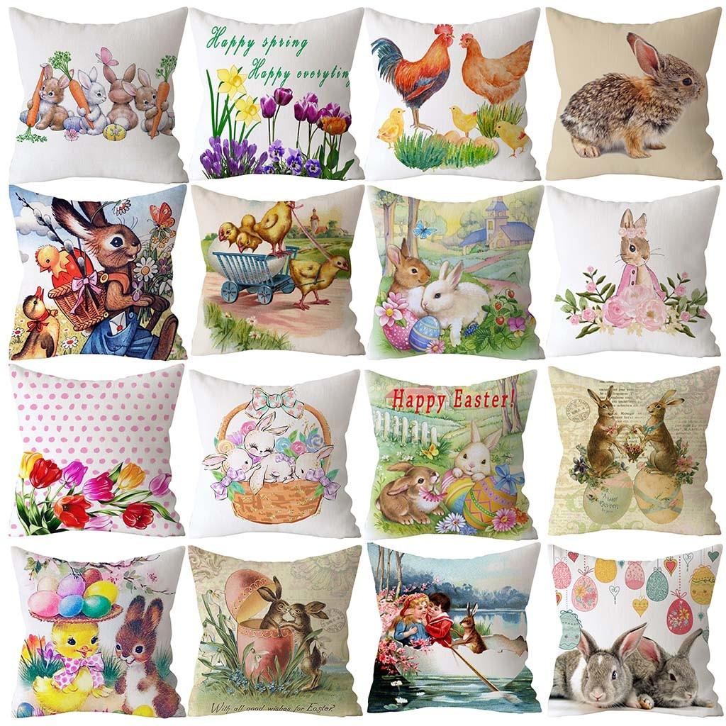 Happy Easter Eggs Rabbit Pillow Case Decorative Pillow Cover For Sofa Seat Soft Throw Pillow Case 45x45 Cm Home Decor 1.3