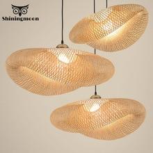 Nordic LED Bamboo Pendant Lights Modern Art Wood Kitchen Fixtures Pendant Lamp Suspension Home Indoor Dining Room Hanging Lamp