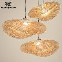 Nordic led luzes pingente de bambu arte moderna cozinha madeira luminárias luminária suspensão para casa sala jantar interior lâmpada pendurada