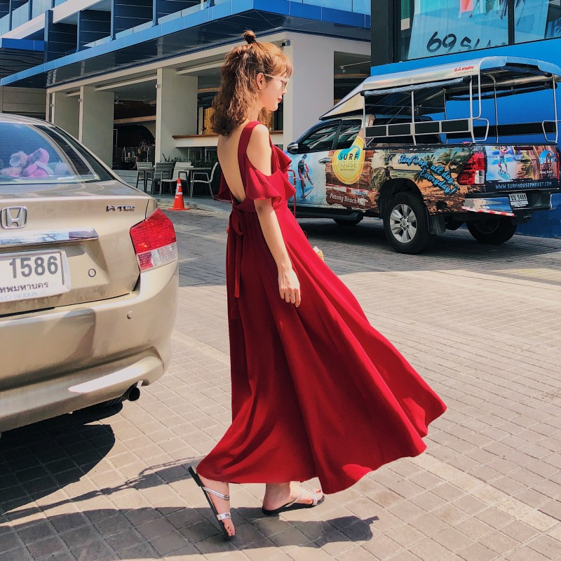 Photo Shoot INS Super Fire Seaside Holiday Backless Red Dress Women's Summer 2018 New Style Bali Beach Long Skirts