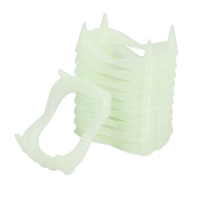 10 PCS Luminous Vampire Fake Teeth For Halloween Party Night Glow Prop Masquerade Cosplay Funny Makeup Dentures