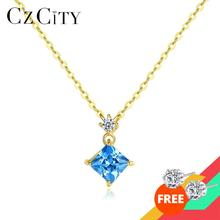 Sapphire-Pendant-Necklaces Fine-Jewelry CZCITY 14k Gold Women for AAA Yellow Luxury Gift