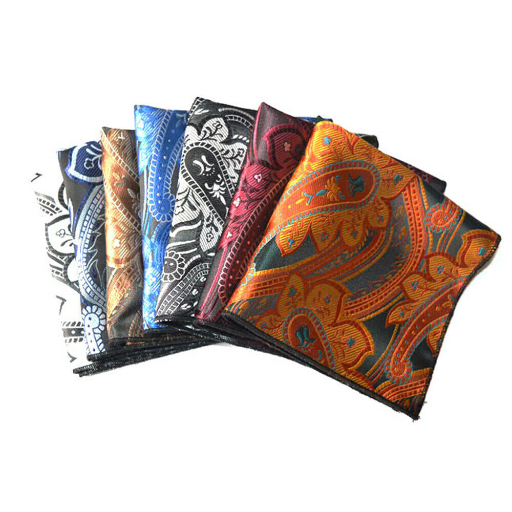 7 PCS Men Pocket Square High Grade Business Paisley Printed Handkerchief Hanky YXTIE0331A