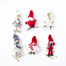 Christmas Tree Angel New Year Girl Ski Plush Dolls Ornament Pendant Party Decoration for Home