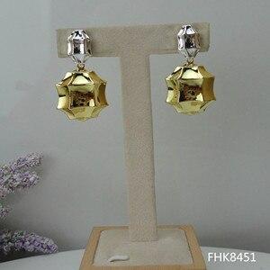 Image 2 - Yuminglai pendientes brasileños de oro de Dubái para mujer, 24K, FHK7977