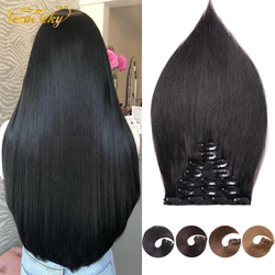 Veravicky Clip in Human Hair Machine Remy Extensions Double Wefts Straight & Silky Natural Hair 14