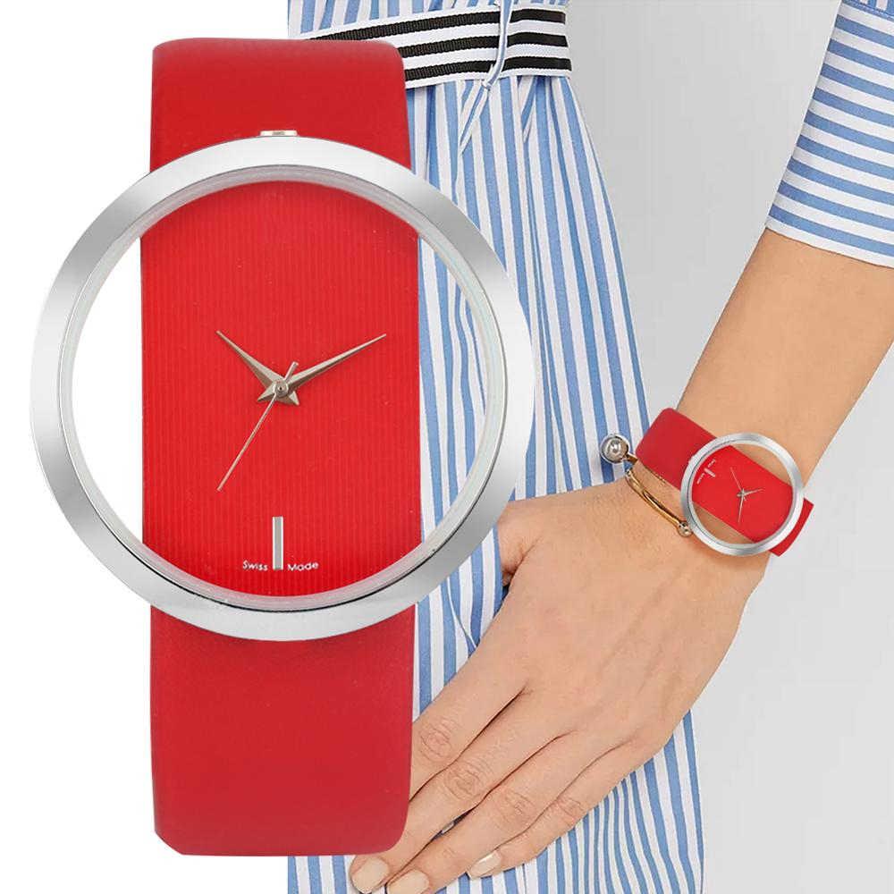 İzle kadınlar lüks benzersiz Hollow İskelet Lady bilek saatler şanslı kırmızı deri kuvars Casual şık elbise relogio feminino hediye