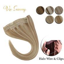 VeSunny невидимая проволока Halo волосы для наращивания человеческие волосы флип в рыбий линии с 2 зажимами на бликах окрашенные светлые волосы