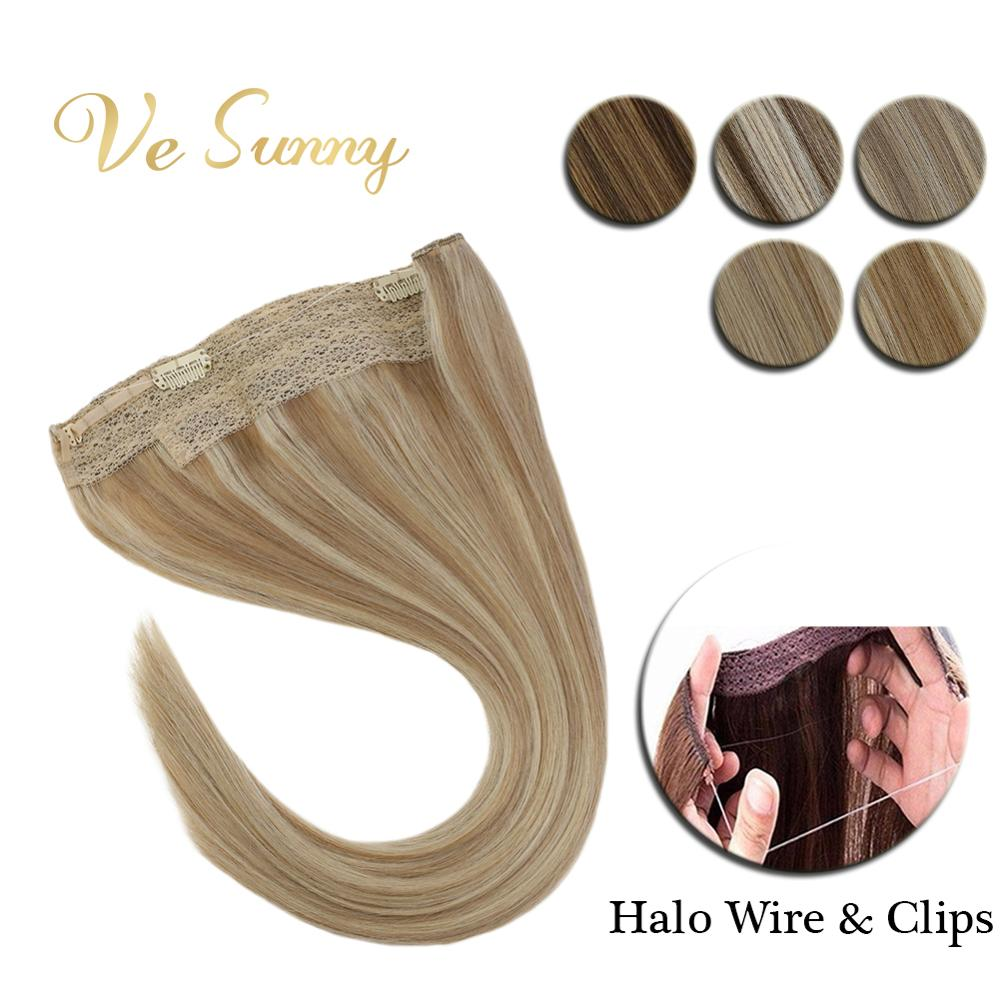 VeSunny Invisible Wire Halo Hair Extensions Real Human Hair Flip Line With Clips Highlights Color Blonde Hair Long Hair 20inches