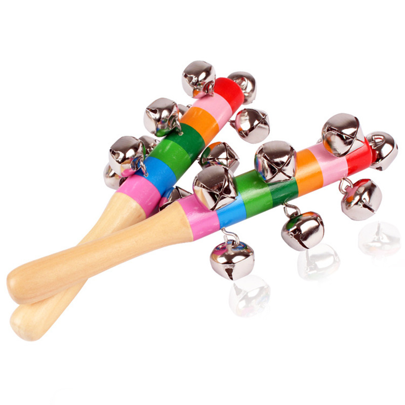 1 Piece Baby Wooden Rattle Rainbow Color Hand Bell Baby Rattles Jingle Bells Infant Shaker Rattle Educational Toys  Baby Toys