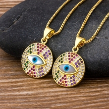 цена на Hot Sale Rainbow Evil Eye Shape Pendant Necklace Women Luxury Crystal Statement Necklace Copper Zircon Round Chokers Jewelry