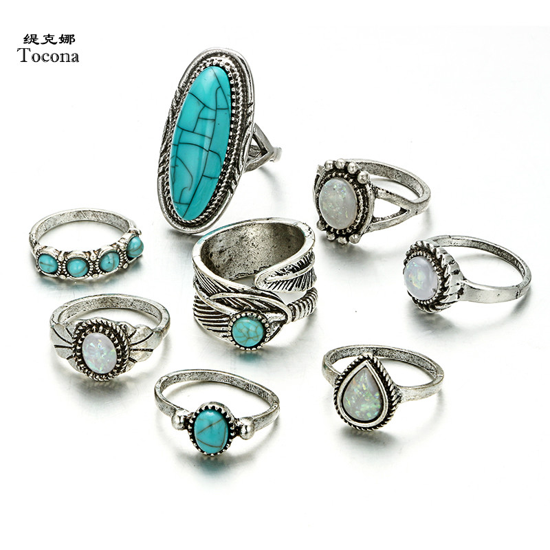 Tocona 8 Pcs/set Vintage Antique Green Stone Ring Set for Women Silver Color Clear Crystal Bohemian Party Jewelry Wholesale 6225