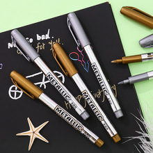 1Pcs Metal Color Painting Art Marker Gold and Silver 1.5mm DIY Drawing Waterproof Permanent Marker Pens School Art Supplies