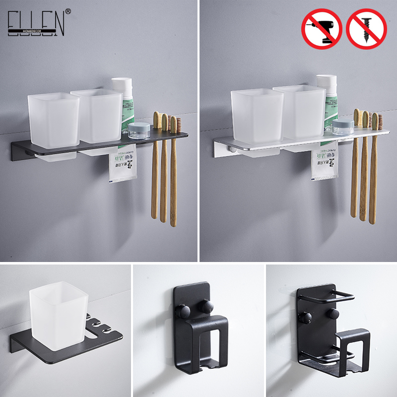 Ellen Self Adhesive Bathroom Cup Holder Black Toothbrush Holder Bathroom Accessories Metal Wall Cup Holder Ml6037 Cup Tumbler Holders Aliexpress