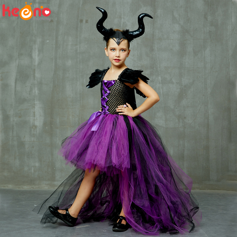Halloween Maleficent Evil Dark Queen Girls Tutu Dress with Horns Wicked Witch Kids Cosplay Party Ball Gown Costume Fancy Clothes 1