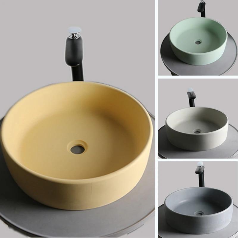 cement round wash basin household bathroom products creative wash basin nordic wind concrete handicraft household wash basin