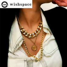 Exaggerated personality popular heavy metal chain necklace didn't head pendants wholesale sweater necklace boako retro exaggerated link chain punk metal item necklace female simple hand chain geometric personality necklace shackles b3