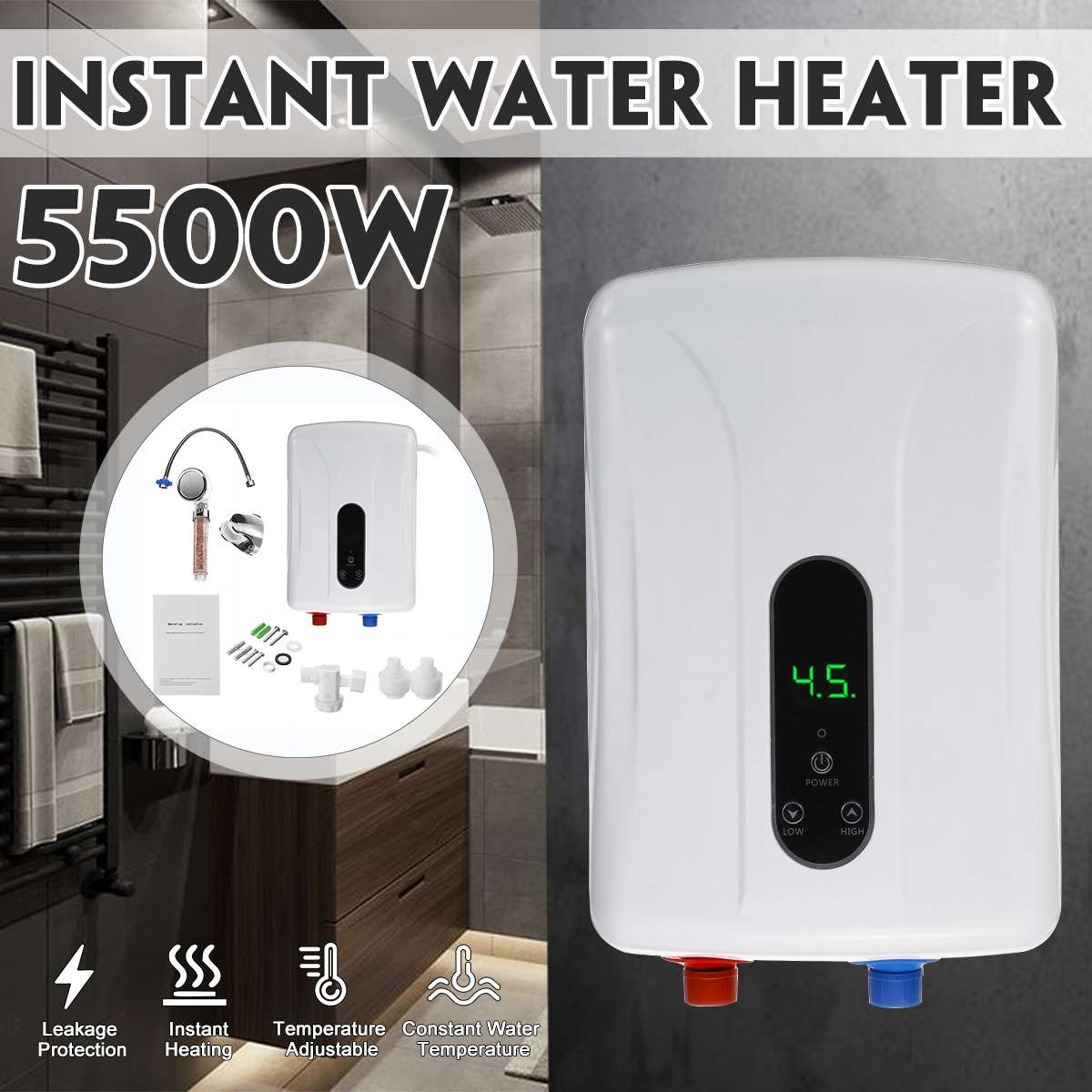 New 5500w 220v Mini Electric Water Heaters Instant Electric Hot Water Heater Shower Safe Intelligent Electric Water Heaters Aliexpress