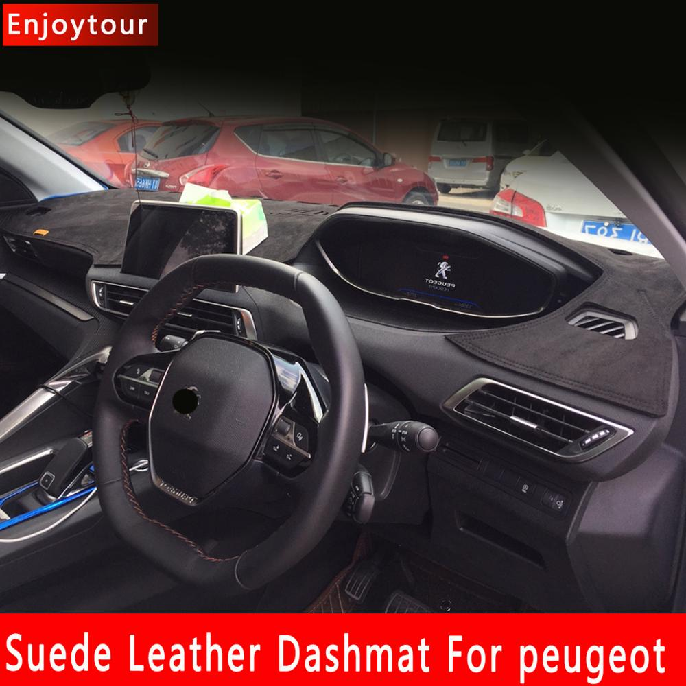 Suede Leather Dashmat Dashboard Cover Dash Mat Carpet For Peugeot 208 2008 308 408 308s 307 301 4008 3008 5008 508 RHD