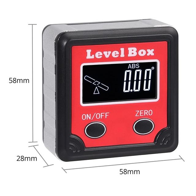 TANiCE boîte à biseau magnétique LCD rétro-éclairage affichage 0.01 degrés résolution niveau à bulle jauge dangle numérique rapporteur inclinomètre
