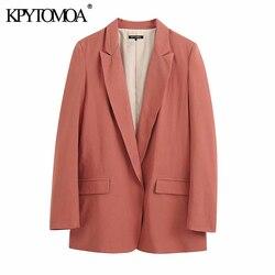 KPYTOMOA Женская мода 2020 офисная одежда уютный Блейзер Пальто винтажный Зубчатый воротник с длинным рукавом женская верхняя одежда шикарные то...