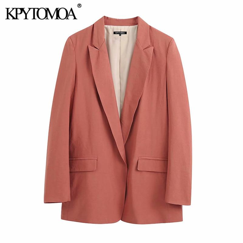 KPYTOMOA Women 2020 Fashion Office Wear Cozy Blazer Coat Vintage Notched Collar Long Sleeve Female Outerwear Chic Tops