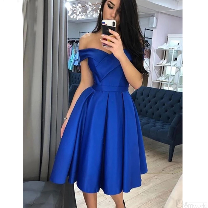 V-Neck Off The Shoulder Royal Blue Knee Length Graduation Homecoming Dresses With Ruched Satin Dress Prom Party Gowns 2019