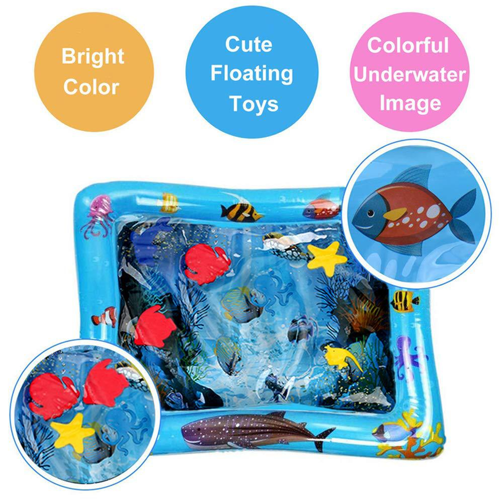 Baby Inflatable Aquarium Water Playing Mat Tummy Time Toy Water Cushion Infants Toddlers Water Fill Prostrate Water Mat Pad