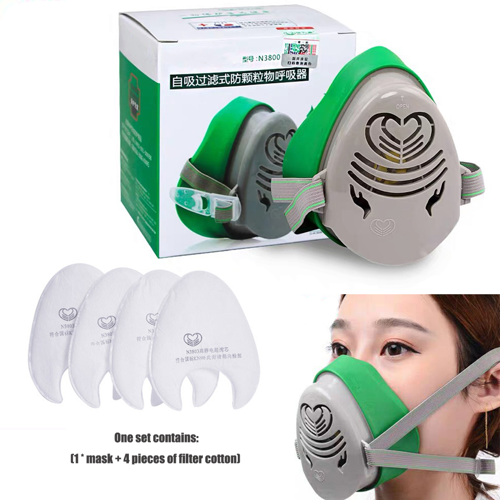 Half Face Anti-Dust Respirator Safety Mask Industrial Cement Grinding Dust Protection Face Mask With 4pcs Filters