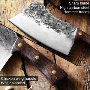 Image 4 - XITUO nóż rzeźnicki ręcznie kute stal wysokowęglowa chiński nóż szefa kuchni wołowina tasak ostre mięso siekanie ciężki nóż