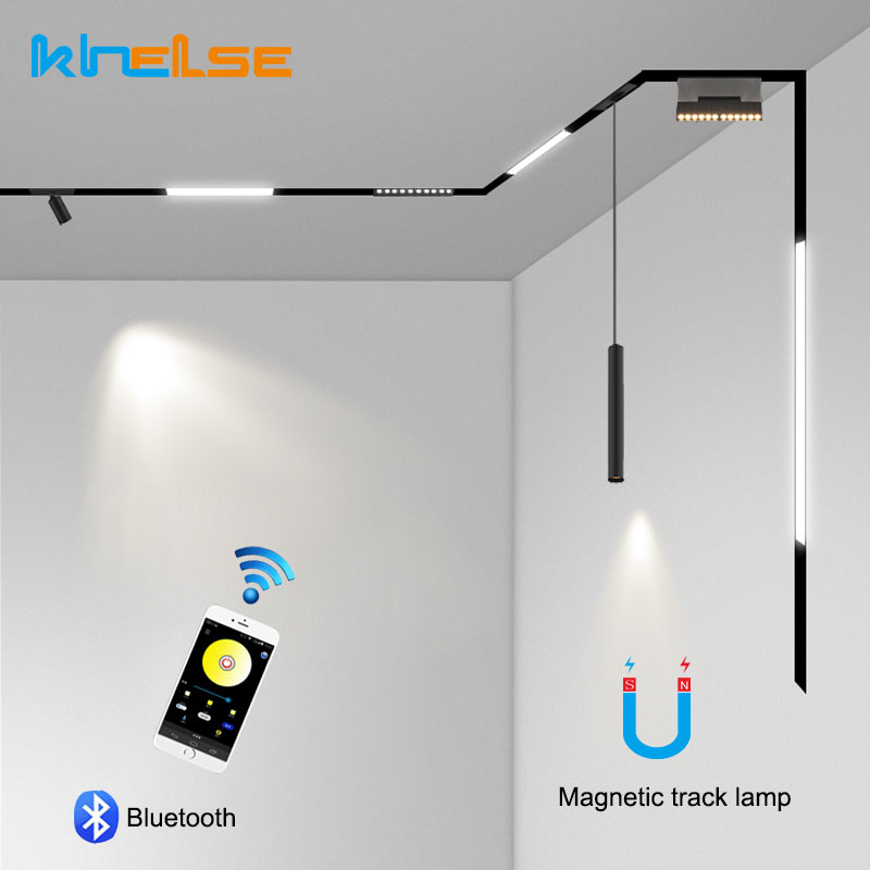 Creative Bluetooth Smart Dimmable Recessed Magnetic Lamp Home Lighting Aluminum 1M Track Rail Strips Ceiling Lights IOS /Android