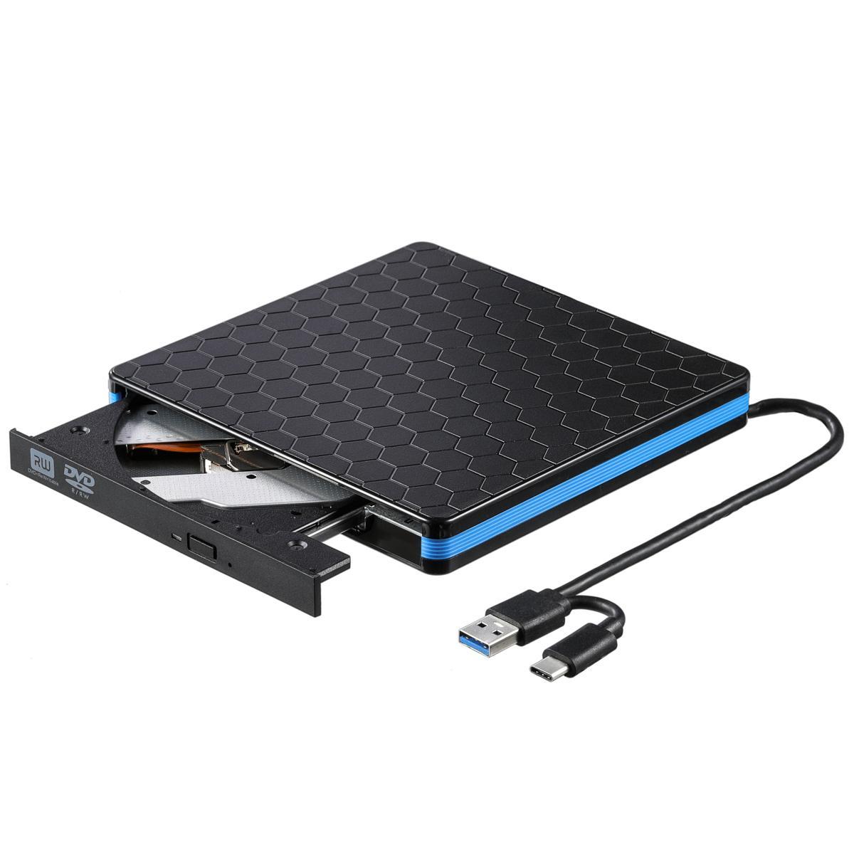 Universal Type C USB 3.0 External DVD/CD/ VCD Burner RW SVCD Drive Player Optical Drive for Mac/PC/Apple Laptop/OS/Windows